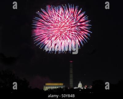 Fireworks over Washington DC - Stock Photo