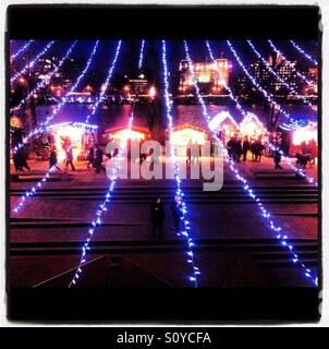South Bank Christmas at Night, London - Stock Photo