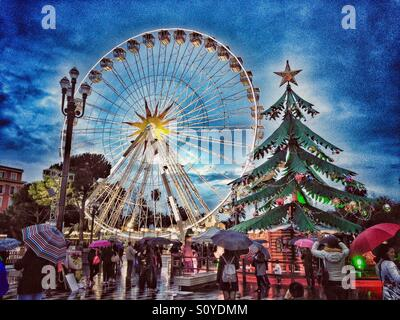Christmas market in Nice, France - Stock Photo