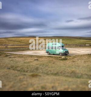 VW camper van alone on the North Yorkshire moors - Stock Photo