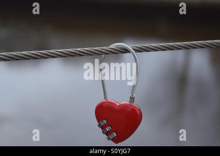 Love Lock Over Bridge - Stock Photo