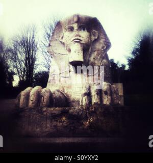 Statue of egyptian sphinx in crystal palace park london - Stock Photo