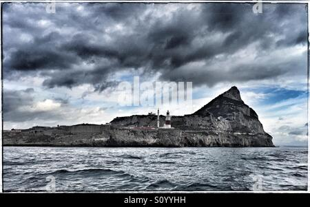 The Rock of Gibraltar from sea - Stock Photo
