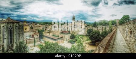 Panoramic view of the city of Girona, Spain - Stock Photo