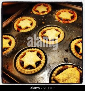 Mince pies topped with pastry stars - Stock Photo