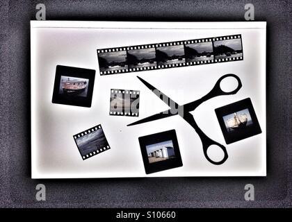 Transparencies on light box - Stock Photo