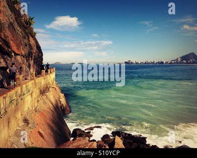 Cliffside walk at Copacabana beach, Rio de Janeiro - Stock Photo