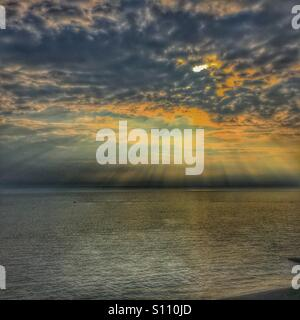 Sunset over Cardigan bay Wales Uk - Stock Photo