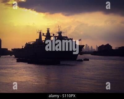 HMS Bulwark on the River Thames in London - Stock Photo