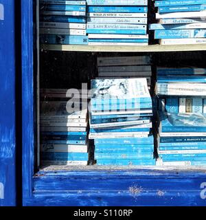 Seconhand bookshop window full of blue spined books - Stock Photo