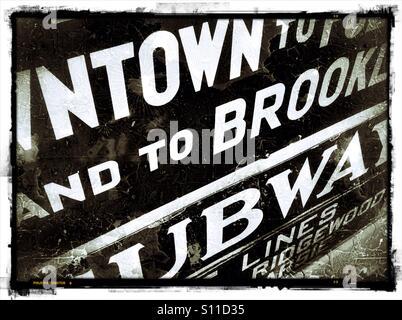 Vintage NYC subway signs. - Stock Photo