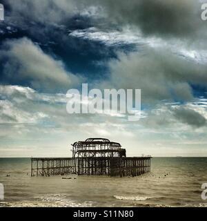 Derelict West Pier in Brighton - Stock Photo