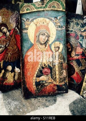 Holy Mary icon - Stock Photo