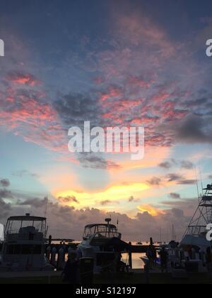 Sunset over Plantation Yacht Harbor in Islamorada. - Stock Photo