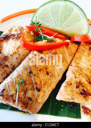 Grilled salmon chilli steaks - Stock Photo