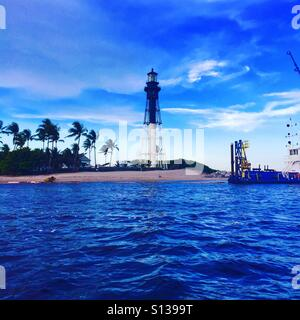 The amazing Lighthouse at the Hillsboro inlet and Lighthouse Point in Pompano Beach - Stock Photo
