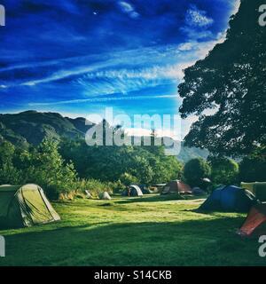 A campsite in Glendale, Lake District, Cumbria - Stock Photo