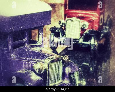 Diecast vehicles, a Cadbury's delivery van and a Huntley & Palmers delivery van - Stock Photo