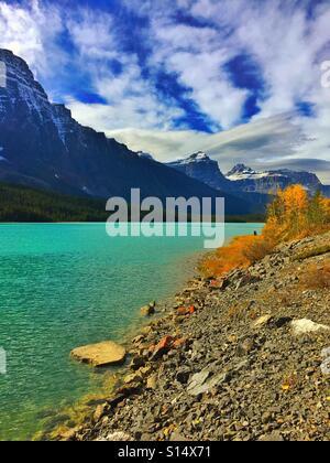 Waterfowl Lake and Mt Chephren, Banff - Stock Photo
