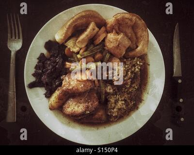 Roast dinner - Stock Photo