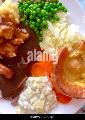 Roast beef Sunday dinner - Stock Photo