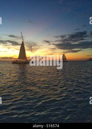 Sail boats at sunset, Key West, Florida - Stock Photo