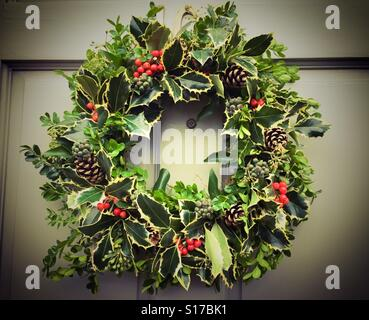 A Christmas reef hanging on a door - Stock Photo & The Reef