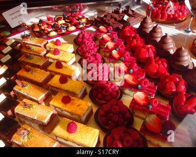 Paris, France, French Bakery Shop, pastries on display - Stock Photo