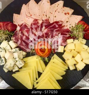 Ham and Cheese plate - Stock Photo