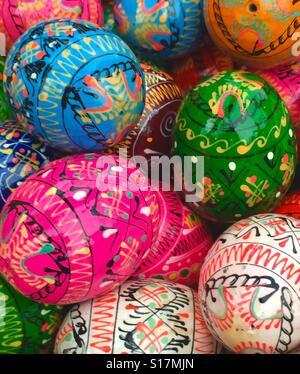 Hand printed Easter eggs, Berlin - Stock Photo