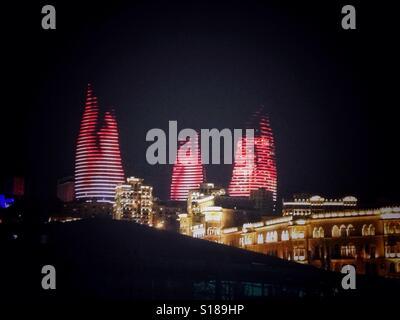 Flame Throwers Baku, Azerbaijan - Stock Photo
