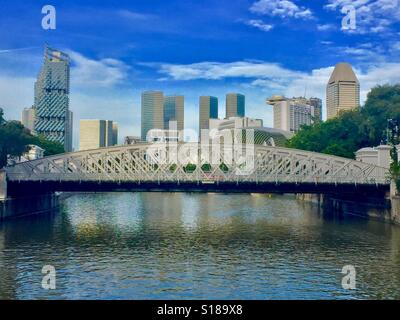 Singapore River Bridges - Anderson Bridge - It was named after Sir John Anderson, the governor of the Straits Settlement - Stock Photo