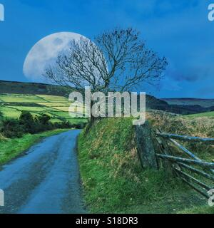 Super moon against rural countryside - Stock Photo