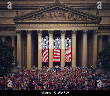 July Fourth Parade on steps of National Archives - Stock Photo