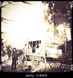Stagecoach loading passengers on Main Street. Columbia State Historic Park, Columbia, Tuolumne County,  California, - Stock Photo