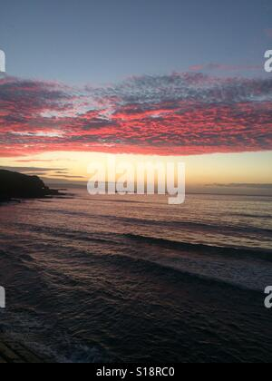 Glorious sunset over Portrush in Northern Ireland - Stock Photo