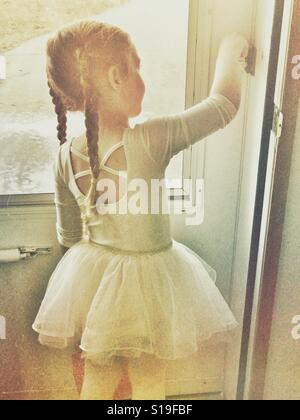 Little ballerina going to dance class - Stock Photo