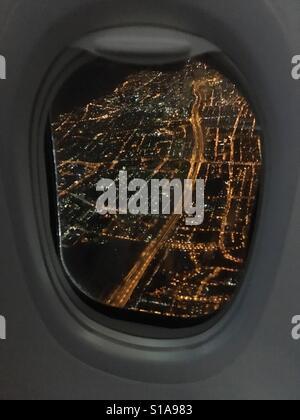 Tel Aviv view as seen from a night flight. - Stock Photo