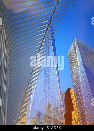 7 World Trade Center and signs of the path station oculus, NYC, USA - Stock Photo
