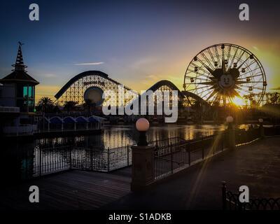 Sunset in Paradise Pier at Disney's California Adventure in Anaheim, California - Stock Photo