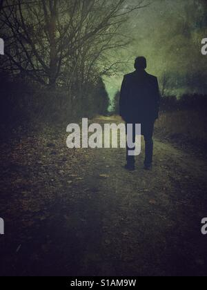Rear view of a man wearing a coat standing on a countryside road - Stock Photo