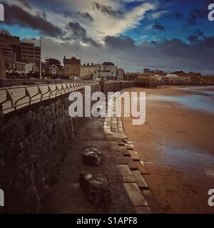 Empty beach on a bad weather day, Weston super Mare, North Somerset, England - Stock Photo