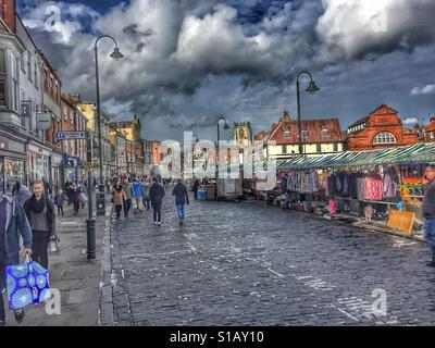 Saturday market in Beverley in the East Riding of Yorkshire - Stock Photo