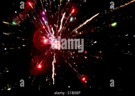 Fireworks Exploding. Bursting in air. Colorful and loud. Independence Day. Fourth of July. - Stock Photo