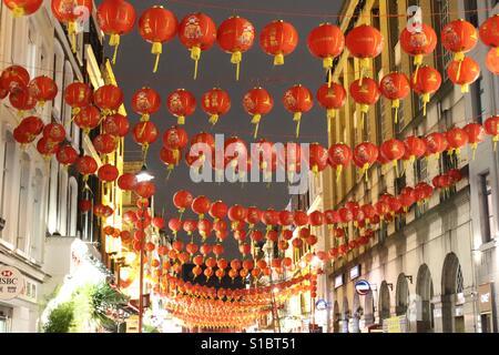 Chinese lanterns in China town, London - Stock Photo