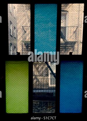 Rear window with color block view - Stock Photo