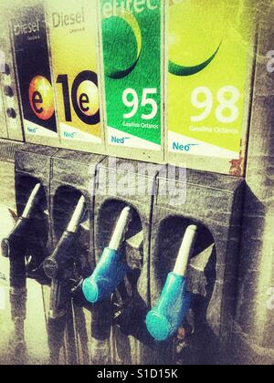 Fuel pumps at gas station, Spain - Stock Photo