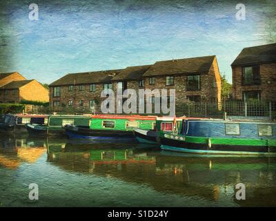 Narrowboats on the river with paint effect added - Bridgewater Canal in Lymm, Chesire, UK - Stock Photo