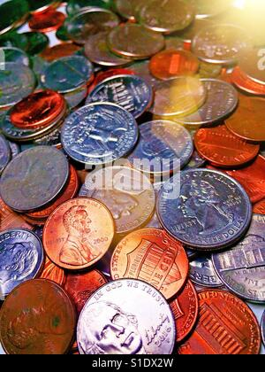 Close-up still life of US coins, USA - Stock Photo