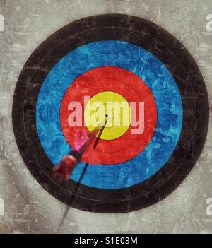 BULLSEYE! The perfect archery shot. A grunge effect image of an arrow in the dead centre of an archery target. Photo - Stock Photo